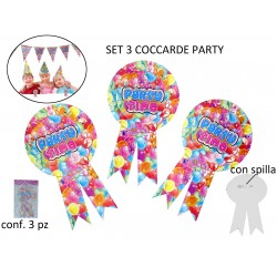 SET 3 COCCARDE PARTY TIME cm 16x9